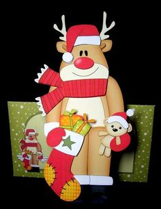 Card Gallery - 3D On the Shelf Card Kit - Christmas Rudolph's Stocking