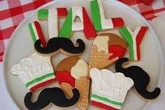 ITALIAN PARTY This Birthday I decided to have an Italian Party. Cupcakes, Cupcake Cookies, Sugar Cookies, Baby Cookies, Easter Cookies, Birthday Cookies, First Birthday Parties, First Birthdays, Birthday Pizza