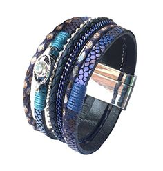 GSLee Fashion Snake Skin Leather Crystal Bracelet with MagneticClasp Comfortable Wrap Bracelet Blue * You can find out more details at the link of the image.