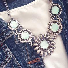 Maxi colar prata com pedras - Turquesa Acqua