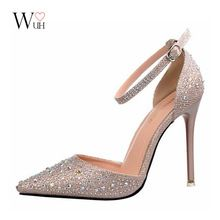 Love from www.the2020marriage.com  2016  Korean  shining diamond  Red bottom high heels shallow mouth sandals pointed out sweet princess shoes wedding shoes(China (Mainland))