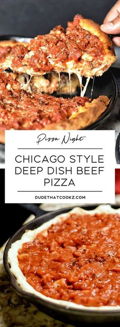 """The Chicago Style Deep Dish Pizza seems to be an all-time classic when you even mention the words """"pizza pie"""". The thick crust topped off with the cheese and crushed tomato layers can stop any hungry soul in their tracks. Beef Pizza, Pizza Pizza, Dough Pizza, Hamburger Pizza, Sauce Pizza, Quiche, The Fresh, Pizza Party, Cooking Recipes"""