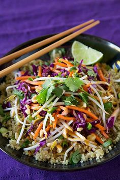 Thai Peanut Quinoa Salad  Ingredients  Dressing  1/2 cup agave nectar  1/2 cup nama shoyu or low sodium wheat free tamari 1/2 cup peanut butter  1/4 cup apple cider vinegar  1/4 cup fresh lime juice (about 3 limes)  4 cloves garlic, minced  4 tsp sesame oil  2 tsp ground ginger  2 tsp onion powder   Salad  2 cups dry quinoa  3 cups shredded red cabbage  2 cups carrots  8 oz bean sprouts  1 cucumber, peeled and diced  4 green onions chopped  1 cup fresh cilantro, long stems removed