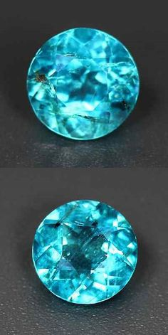Apatite 110787: 1.94 Ct Natural Round-Cut Topfire Paraiba-Blue Vs Apatite (Brazil) BUY IT NOW ONLY: $180.0