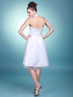 $299.99 Sheer Halter A Line Reception Gown #reception #dress