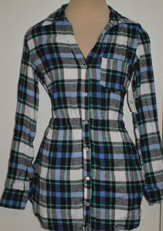 2b21114f Ladies Derek Heart Blue Plaid Button Front Flannel Shirt Top Juniors Sizes M,  L #