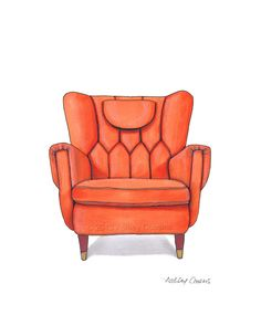 Mid Century Modern Chair Drawing, Orange Nectarine - 8x10 via Etsy. RenderingsByAshley.etsy.com