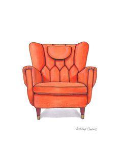 Mid Century Modern Chair Drawing, Orange Nectarine - 8x10 via Etsy. RenderingsByAshley.etsy.com