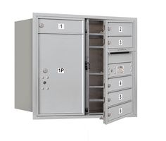 4C Horizontal Mailbox 7 Door High Unit Double Column 6 Doors and 1 Parcel Locker Front Loading Private Access