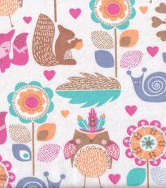 Snuggle Flannel Fabric-Woodland Folk Animals