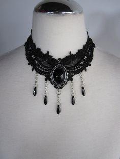 Gothic Dark Victorian Black Lace Necklace Choker by Ravennixe, $47.00