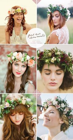 wedding hairstyle with large floral crown