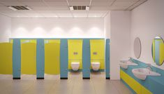 A Toilet is one of the important areas in our home. It's a place which shows the owners Hygiene and cleanness. So, make this area attractive with our unique Toilet Partitions. Solera is one of the best and reliable Toilet Partition supplier in Dubai, UAE. Kindergarten Interior, Kindergarten Design, Wc Public, Colegio Ideas, Cubicle Design, Toilet Cubicle, Wc Design, Toilette Design, Bathroom Lighting Design