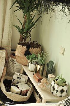 Cactus, plantes vertes, paniers en osier... Cette chambre d'amis mise sur la déco nature et bohème !