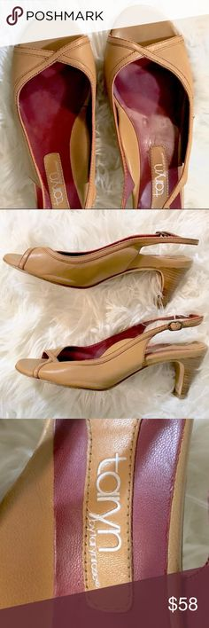 Taryn Rose tan peep-toe heels Adorable tan slingback peep-toe heels with contrasting maroon interior.  Moderate cushioning to the insole makes for a very comfortable wear! Perfect addition to any spring + summer wardrobe!  Heel: 2.5 inches Taryn Rose Shoes Heels