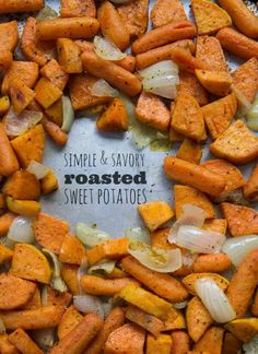 Savory and Simple Roasted Sweet Potatoes and Carrots Side Dishes Easy, Vegetable Side Dishes, Side Dish Recipes, Veggie Recipes, Cooking Recipes, Healthy Recipes, Savory Sweet Potato Recipes, Yam Recipes, Starch Recipes