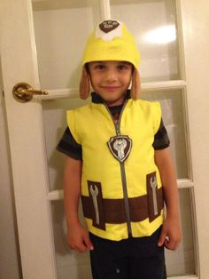 Construction Pup rubble inspired Vest by Sonorali on Etsy Rubble Paw Patrol Costume, Paw Patrol Halloween Costume, Family Halloween Costumes, Halloween Party, Halloween 2019, Toddler Boy Costumes, Baby Costumes, Adult Costumes, Yellow Flannel