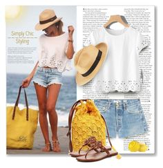 """""""Sun's Out: Beach Day"""" by breathing-style ❤ liked on Polyvore featuring RE/DONE, Tory Burch, COLLECTION 18 and Eos"""