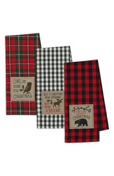 DII Cotton Christmas Holiday Dish Towels Set of 3 Decorative Oversized Embroidered Kitchen Towels Perfect Home and Kitchen Gift-Cabin Christmas Christmas Kitchen Towels, Christmas Dishes, Farmhouse Christmas Decor, Plaid Christmas, Country Christmas, Christmas Themes, Christmas Holidays, Christmas Crafts, Christmas Decorations