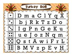 Turkey Roll Race numbers and letters!