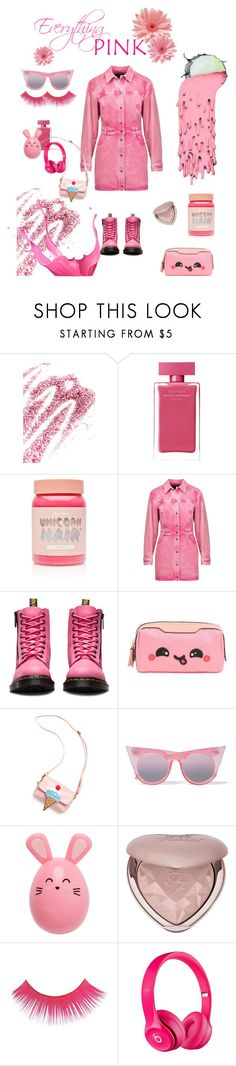"""""""Everything Pink!"""" by marilyn-montoto ❤ liked on Polyvore featuring Obsessive Compulsive Cosmetics, Narciso Rodriguez, Lime Crime, Roberto Cavalli, Dr. Martens, Anya Hindmarch, OOAHOOAH, Le Specs and Too Faced Cosmetics"""