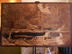 the mill 48 by 30 inches on birch plywood by j.r.nutting