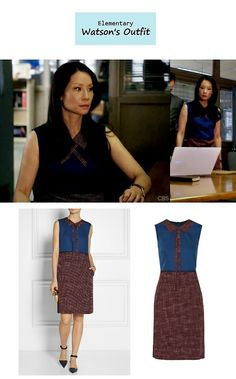 On the blog: Joan Watson's (Lucy Liu) sleeveless colorblock printed dress with…