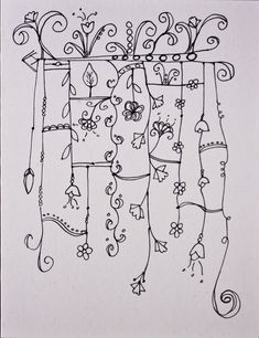 zentangle - floral lines Tangle Doodle, Tangle Art, Zen Doodle, Doodle Art, Doodle Patterns, Doodle Designs, Zentangle Patterns, Doodle Borders, Zentangle Drawings