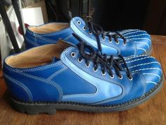 MINE.  Fluevog – Amazing Two Tone Blue with White Stitching US 12 5 | eBay
