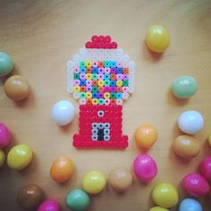 Gumball machine hama perler beads by tamatek Hama Beads Design, Diy Perler Beads, Perler Bead Art, Pearler Beads, Fuse Beads, Melty Bead Patterns, Pearler Bead Patterns, Perler Patterns, Beading Patterns