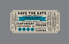 Vintage Victorian Edwardian Antique Banner Ticket Rustic Wedding Save the Date with Address Label. $3.50, via Etsy.