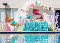 ONE Love Birthday ❤️ What a lovely theme for a Vday baby ❤️🥰😍 Dessert Table & Decor Cake &… Dessert Table Decor, Table Decorations, Balloon Garland, Balloons, Party Props, Party Ideas, Mermaid Parties, Mermaid Tails, Mermaid Birthday