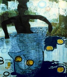 Kerry James Marshall  Blue Water Silver Moon (Mermaid)  1991  Acrylic and collage on linen  63 x 55 inches  Collection of JoAnn Busuttil, Los Angeles
