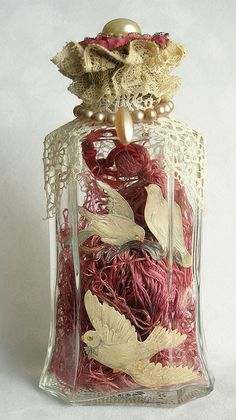I love the look of altered bottles. Whether old bottles, or new, they are easily changed and add charm to your decor. Altered Bottles, Vintage Bottles, Bottles And Jars, Glass Jars, Perfume Bottles, Diy Bottle, Wine Bottle Crafts, Bottle Art, Jar Crafts