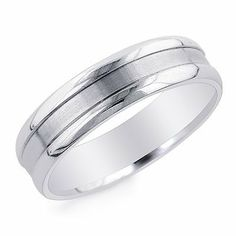 14K White Gold 6mm Comfort fit Men's Wedding Band Netaya. $379.00