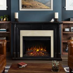 Real Flame - Maxwell Decorative Fireplace - Blackwash, Black