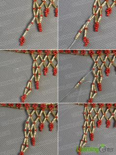 Step 9: Finish the half beading triangle on the right side