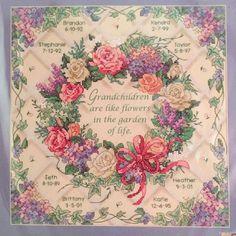 Dimensions Cross Stitch Kit Stamped 3196 Flowers of Life Grandchildren Names New | eBay