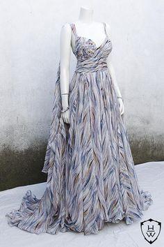 Elvish Silk Dress in Blue Shades