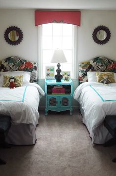 jenny komenda design. fabric valance,upholstered headboards- twin beds.