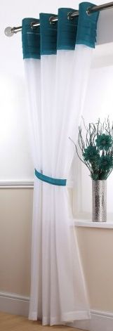 Siena White and Teal Eyelet Voile Panels
