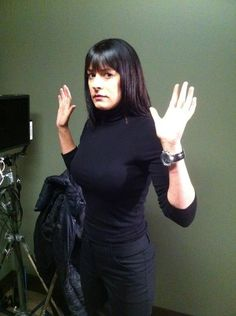 Paget Brewster- Wearing her watch on the inside of her wrist