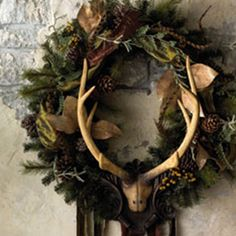 antlered wreaths - reflections of Old Yule Noel Christmas, Country Christmas, All Things Christmas, Christmas Wreaths, Christmas Decorations, Xmas, Redneck Christmas, Christmas Lodge, Christmas Thoughts
