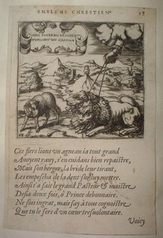 FRENCH EMBLEMS 1591 022 FRENCH EMBLEMS Gravure XVIe DEUS SUPERBIS RESISTIT - LIONS et AGNEAU