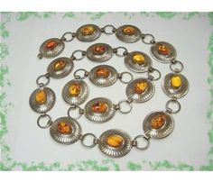 Arizona NAVAJO - Concho Belt Baltic Amber Sterling Silver Belt or Necklace - Sedona Estate Treasure - Vintage Jewelry