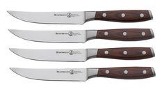 After testing steak knife sets head to head, few were more handsome or higher-performing than Messermeister's Avanta. The forged blades are razor-sharp, and the pakkawood handles are as easy to maintain as they are elegant. Personalized Pocket Knives, Cooks Knife, Best Kitchen Knives, Tactical Pocket Knife, Knife Stand, Knife Storage, Steak Knife Set, Cutlery Set, Flatware