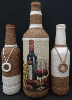 Beautiful Models To Inspire You Wrapped Wine Bottles, Wine Bottle Vases, Recycled Glass Bottles, Glass Bottle Crafts, Painted Wine Bottles, Diy Bottle, Bottle Lamps, Decoupage Art, Decoupage Vintage