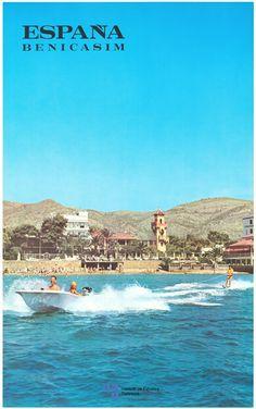 Benicasim en la provincia de Castellon, Comunidad Valenciana, Spain / vintage poster de turismo de España cortesia de #Viajology