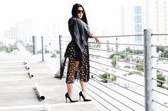 Mesh Black Maxi Dress and Leather Jacket