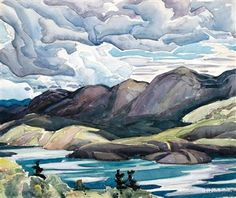 """""""Cranberry Lake, La Cloche,"""" Franklin Carmichael, watercolour on paper, 11 x 13 private collection. Group Of Seven Art, Group Of Seven Paintings, Canadian Painters, Canadian Artists, Watercolor Landscape, Landscape Paintings, Landscape Quilts, Landscape Art, Oil Paintings"""